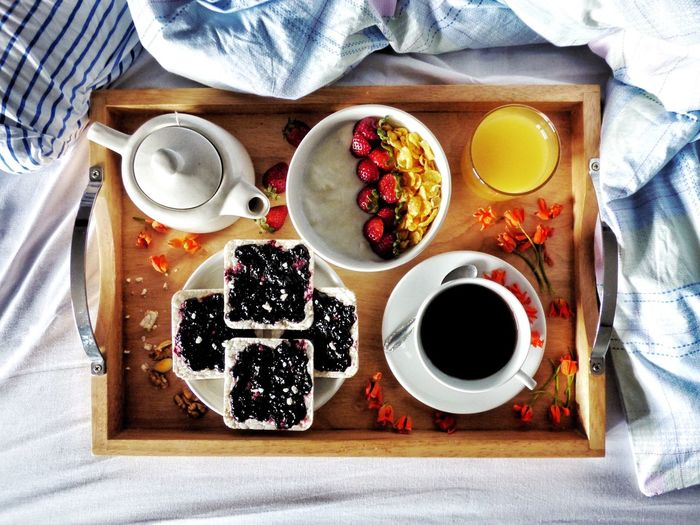Directly above view of breakfast served on bed at home
