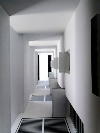Low angle view of corridor of building