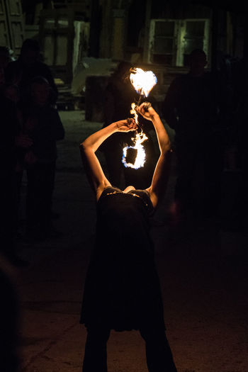 """Performance """"Lichterloh"""" Lemgo Entrup 09/24/16 Art Artist Fire Fire Show Holding Illuminated In Front Of Low Light Low Light Photography Night Outdoors Performance Performance Show Performer  Person Stage - Performance Space Standing Young Women"""