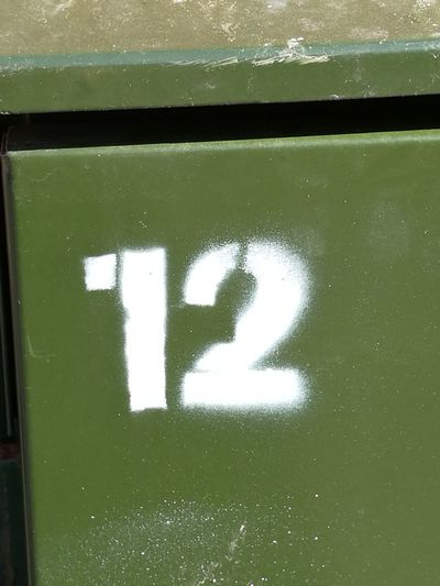 Telecommunications Equipment Telecommunications Cabinet 12 Number Local Network Close-up Painted Textured  Full Frame Paint Detail Number