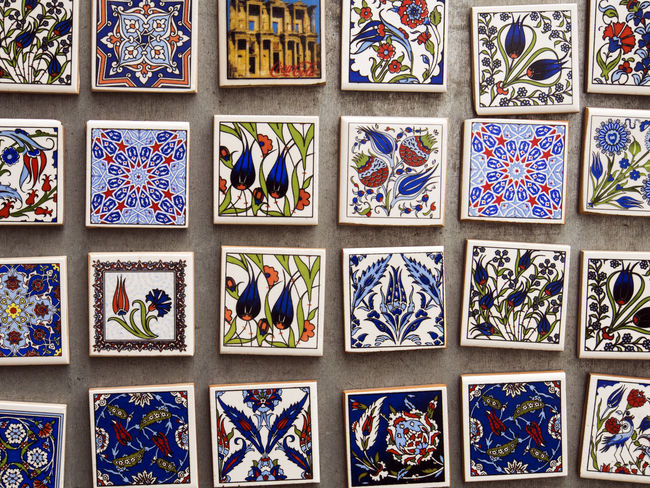 Refrigerator magnets with tradicional pattern of turkish tiles Collection Full Frame Geometric Shape In A Row Indoors  Magnets Multi Colored Order Ornate Pattern Refrigerator Refrigerator Magnets Shelf Tiles Tradicional Turkish Variation Various Window