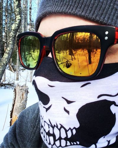 Get lost in the woods. Snow Winter Cold Temperature Tree One Person Leisure Activity Maine Sa_company Day Lifestyles Outdoors Real People Close-up Human Body Part Nature Sky People