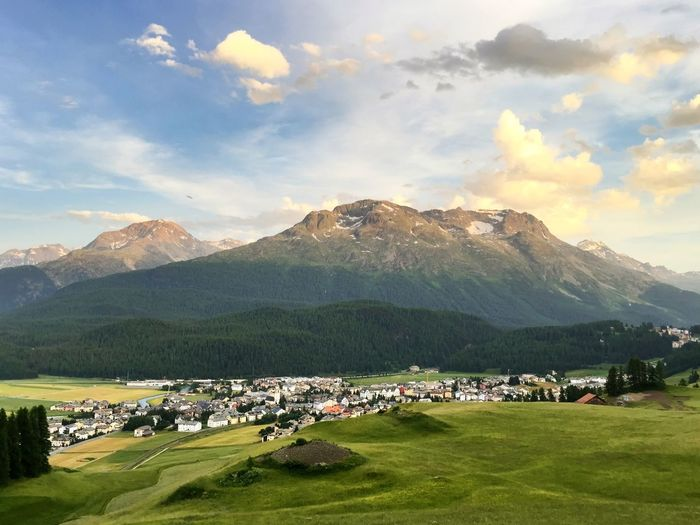 Celerina from above 😍 Celerina Engadin Engadina Graubünden Grischa Landscape Mountains Mountain View