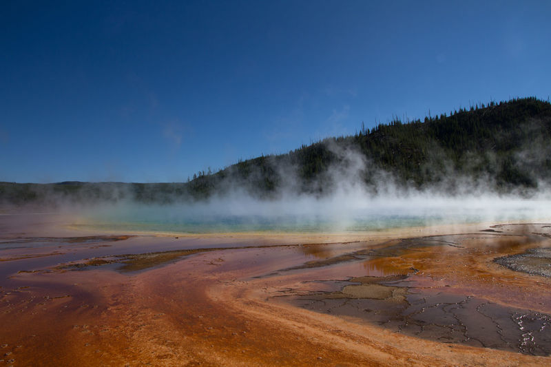 Beauty In Nature Blue Sky Colors In Nature Colour Of Life Grand Prismatic Spring Hotsprings Nationalpark Nature No Clouds No People Orange Color Outdoors Sky Steam Tranquil Scene Yellowstone National Park