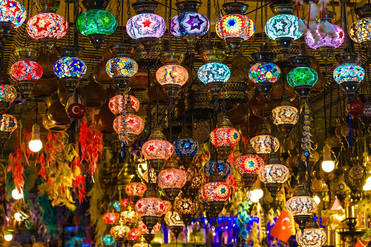 Abundance Bazaar Chinese Lantern Festival Chinese New Year Cultures Decoration Hanging Illuminated Indoors  Lantern Large Group Of Objects Lighting Equipment Low Angle View Multi Colored No People