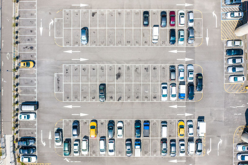 Directly above shot of car parking lot
