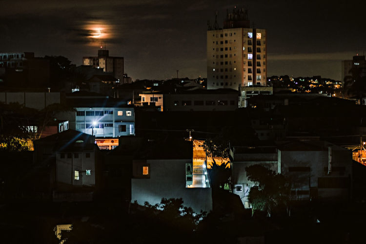 The privilege of beauty, proving it can be found anywhere. Night Building Exterior Architecture Illuminated City Built Structure Building No People Residential District Nature Sky Cityscape Outdoors High Angle View Lighting Equipment Dark Street City Life São Paulo Sao Paulo - Brazil Brazil Zona Leste Moon Moonlight