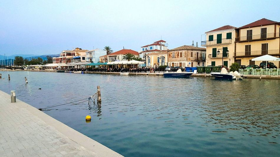 Lefkada Island Scenic View Port Harbor Lefkada Greece Outdoors Tourism Vacations Travel Destinations Restaurants Waterfront Bars Bars And Restaurants Lefkas Boats