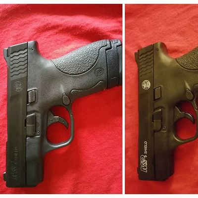 Before and after... Just a minor cheap upgrade to start... Mandp 9mm Sheild SmithAndWesson