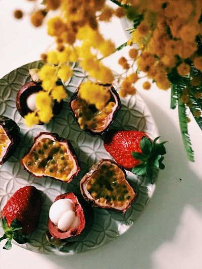 Fruit plate Mimosa Passionfruit Strowberry Food And Drink Freshness Food Indoors  Flower No People Ready-to-eat Plate Healthy Eating