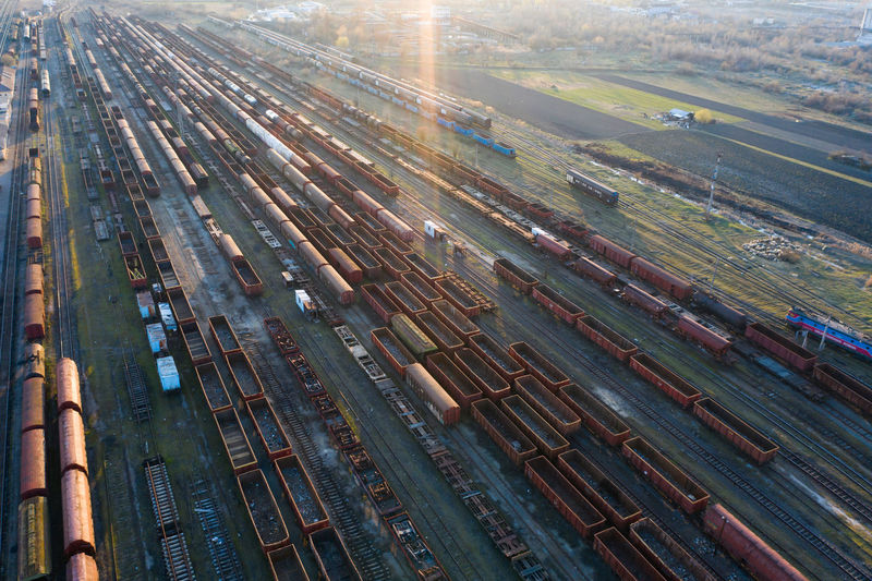 Aerial view of shunting yard