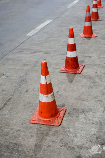 High angle view of traffic cone on street