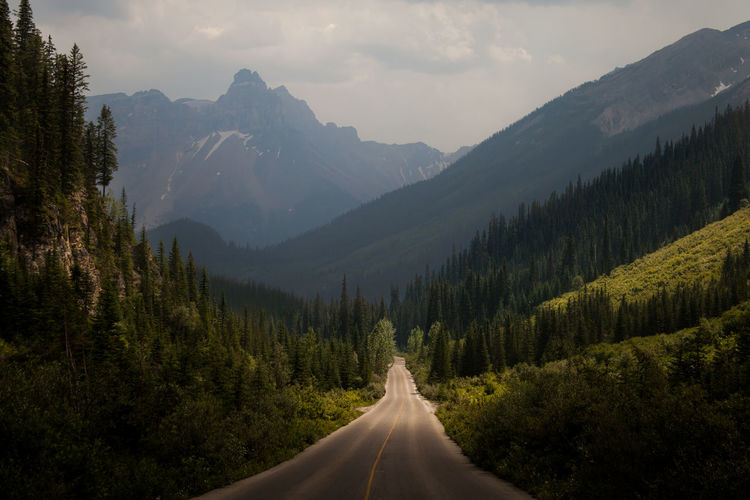 Road Amidst Trees And Mountains Against Sky