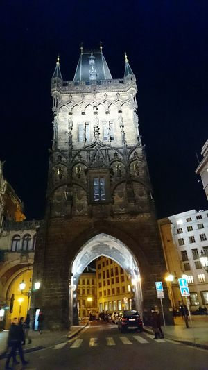 Travel Destinations Travel Tourism Railroad Station City Vacations Built Structure Arch Illuminated Architecture Outdoors No People Sky Clock Clock Tower Fame Red Carpet Event Day XPERIA XperiaZ5 Xperiaphotography First Eyeem Photo Road Sign Prague Centrum Prague Old Town