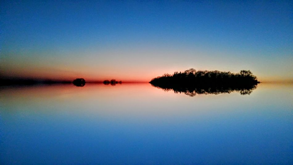 Winter Landscape Reflection Lake Water Sky Sunset Silhouette Tranquility Scenics Tranquil Scene Nature Beauty In Nature Clear Sky Blue Outdoors