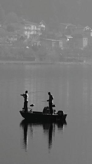 Lago Di Como Barça Boat Comolake Lake Fishing Time Fishing Boat Fishing Pescando Lucariva Day Two People Water Tranquility Outdoors Nautical Vessel