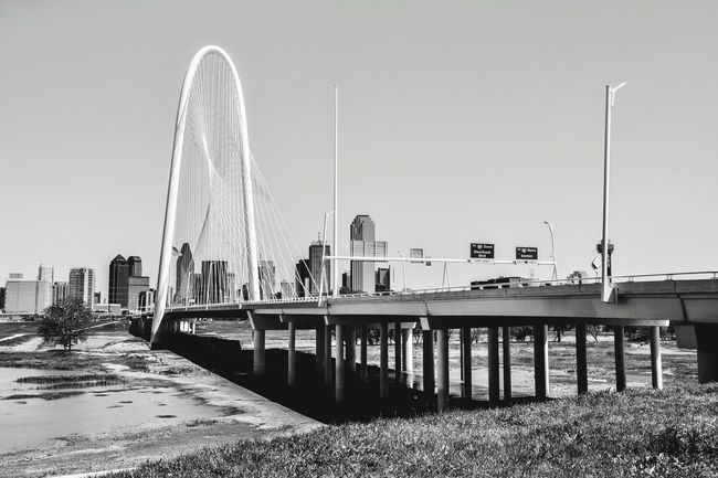 Margaret Hunt Hill Bridge Architecture Day Clear Sky City Blackandwhite Outdoors