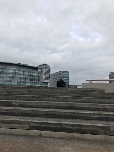 Lost In The Landscape Architecture Steps Built Structure Staircase Sky Building Exterior Modern City Outdoors Day One Person One Man Only EyeEm Masterclass Buildings Salford Quays City Cityscape Eye4photography  Architecture_collection Man Buildings & Sky EyeEm Selects Architectural Detail Modern Architecture