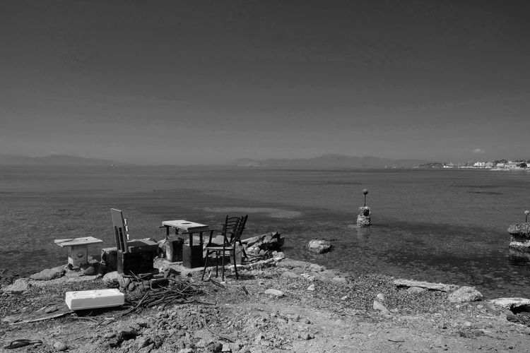 Black And White Blackandwhite Greece Island Nature No People Outdoors Relaxing Rudimental  Scenics Sea Tranquil Scene Tranquility Water