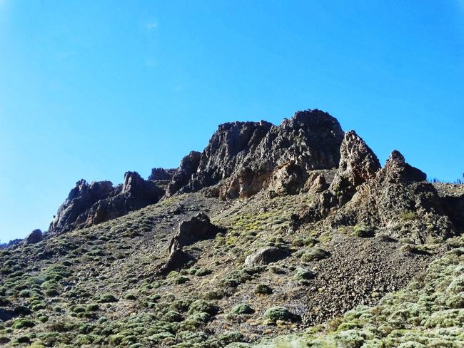 Low Angle View Nature Sky Mountain Rock - Object Beauty In Nature No People Outdoors Blue Mountain Peak Day Cactus Clear Sky Travel Destinations Scenics Climbing El Teide Tenerife Island El Teide National Parc El Teide, Tenerife