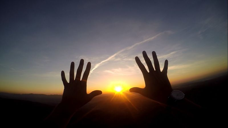 Adventure Beauty In Nature Ego Pics France Hands Handshape Hiking Human Finger Mountains Nature Outdoor Photography Outdoors Person Personal Perspective POV Shapes Silhouette Sky Sun Sunlight Sunset Tranquility Unrecognizable Person Watch Paint The Town Yellow