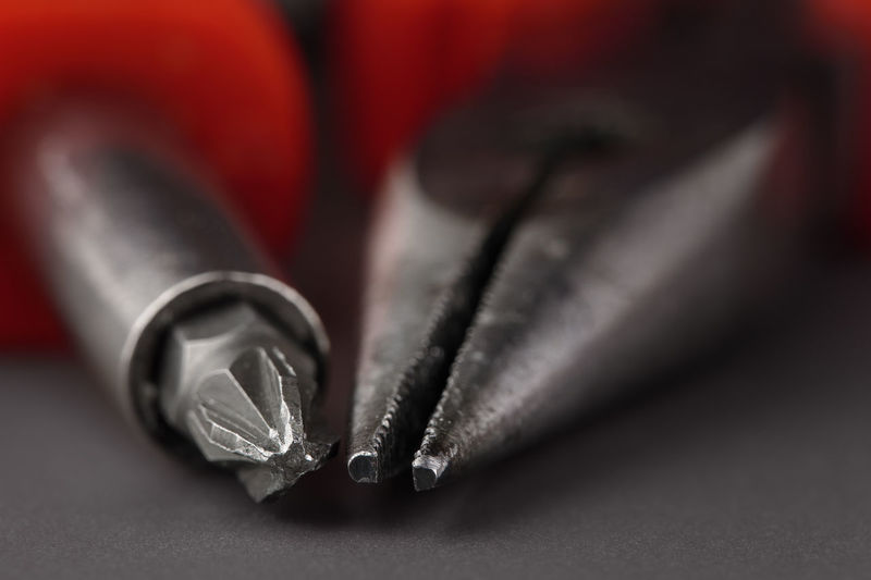 Extreme close-up of work tools