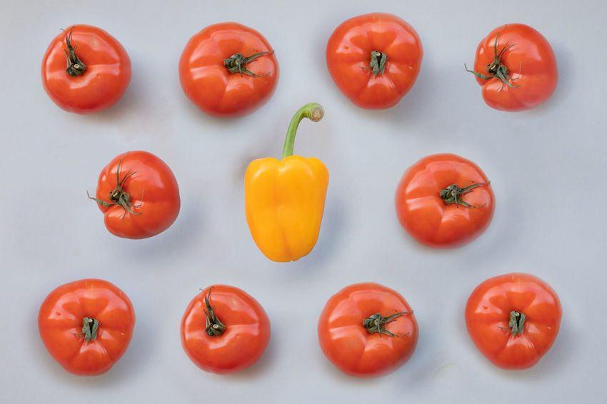 Bell Pepper Directly Above Food Food And Drink Freshness Fruit Group Of Objects Healthy Eating Indoors  Large Group Of Objects No People Orange Color Pepper Raw Food Red Ripe Still Life Studio Shot Tomato Vegetable Wellbeing