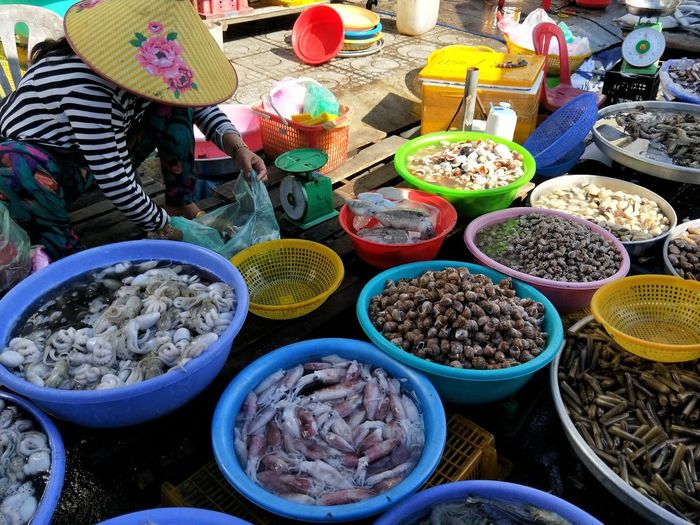 High angle view of people for sale at market stall
