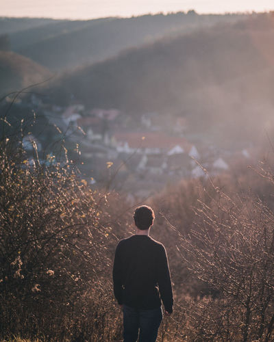 Village view Hungary Countryside Nature Photography Outdoor Outdoor Photography Portrait Photography Hills Hills And Valleys Background Village View Village Rural Scene Rural Landscape Sunset Golden Hour Landscape Men Silhuette Standing Moody Atmosphere Panasonic Lumix Panasonic GH4 Samyang Fog Rear View Hiker