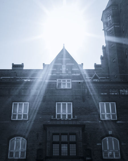 Architecture Belief Building Building Exterior Built Structure City Copenhagen Day Lens Flare Low Angle View Nature No People Outdoors Place Of Worship Religion Sky Spirituality Sun Sunbeam Sunlight Window