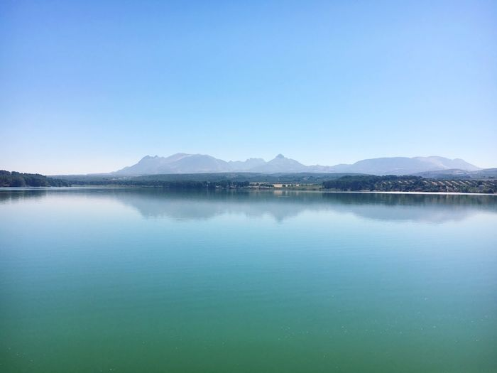 Water Scenics - Nature Sky Lake Tranquility Reflection Blue Beauty In Nature Tranquil Scene Mountain Nature Mountain Range No People Copy Space Clear Sky Day Environment Idyllic Non-urban Scene Outdoors