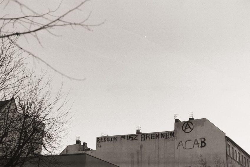 Grey Berlin. Architecture Berlin Blackandwhite Building Building Exterior Graffiti Melancholic Sad Sky Street Art Street Art/Graffiti Tristesse Adapted To The City