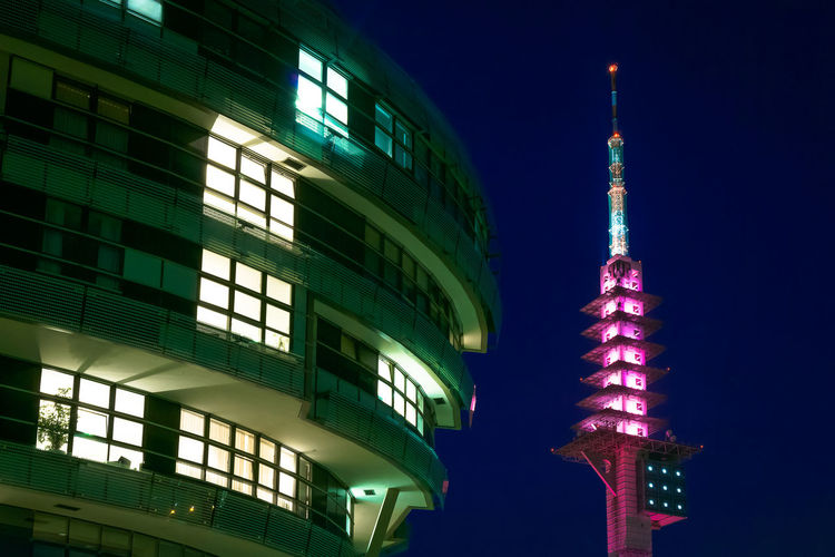 Ini and Telemax during blue hour Architecture Built Structure Building Exterior Night Tower Illuminated Building Travel Travel Destinations City Sky Tourism Tall - High No People Nature Low Angle View Office Building Exterior Spire  Outdoors Skyscraper Telemax Hannover Television Tower Blue Hour Fassade