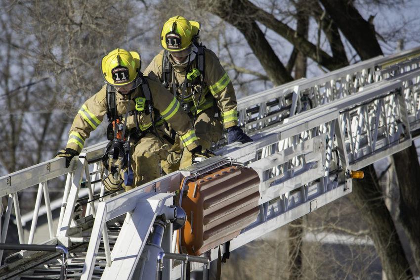 Fire fighting emergency responders Emergency Fire Fighting Equipment Red Day Fire Fire Fighting Fire Hose Firemen Hose Outdoors Water