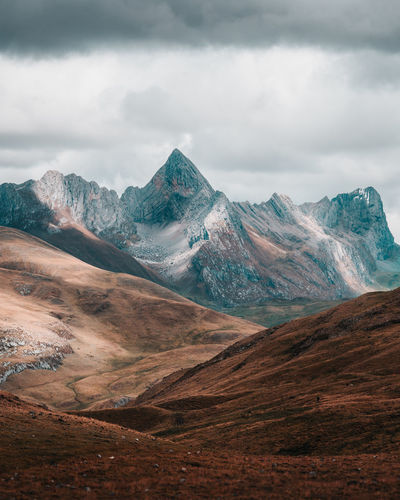 Huayhuash Trekking Cordillera Blanca Andes Mountain Cloud - Sky Scenics - Nature Environment Landscape Sky Beauty In Nature Tranquil Scene Nature Tranquility Mountain Range Day Non-urban Scene No People Overcast Remote Outdoors Idyllic Land