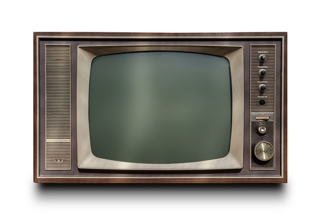Antique Broadcasting Brown Cut Out Electrical Equipment Electronics Industry Front View Green Color Information Medium Modern Rock Music No People Obsolete Old Old-fashioned Retro Styled Single Object Studio Shot Technology Television Set The Media White Background