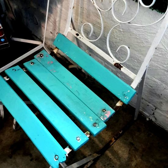 No People High Angle View Chair Rustic Wooden Blue Turquoise Refurbished Classic EyeEmNewHere Freshness