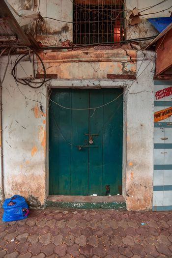 Goa India Architecture Built Structure Door Entrance Building Exterior Closed Building Old House Residential District Protection Abandoned Safety Security Wall Day No People Outdoors City Weathered