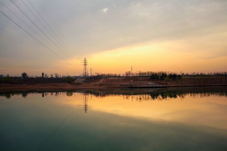 Water Sunset Agriculture Business Finance And Industry Reflection Backgrounds Sky Cloud - Sky