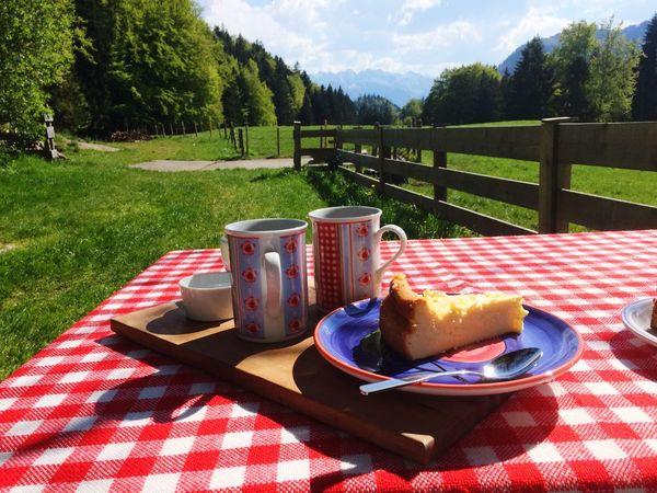 """Two cups of coffe and one cheesecake, mountain """"Wilder Kaiser"""" in background Wilder Kaiser Chiemsee Bavaria Bayern kaffee coffee cake Küche ausflug alpen alps"""