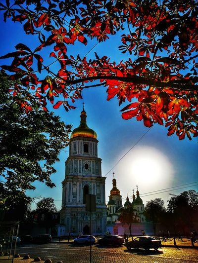 Travel Destinations Religion Architecture Kyiv,Ukraine Cathedral Evening Lights It Is Wonderful World St.Sophia Church In Kiev Summer