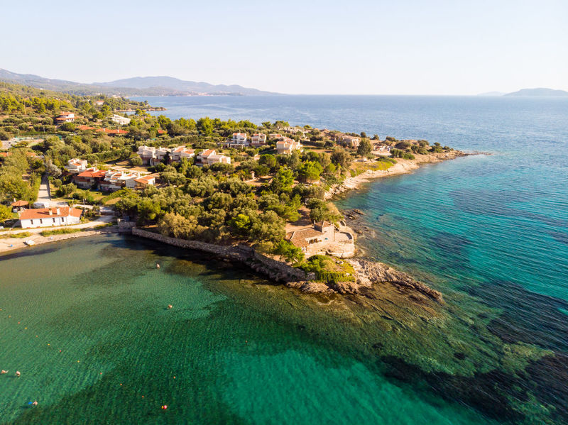 Promontory Drone  Dronephotography Aerial View Aerial Photography Chalkidiki Tree Cityscape Seascape Coast Horizon Over Water Coastline Headland Coastal Feature Idyllic Ocean Shore
