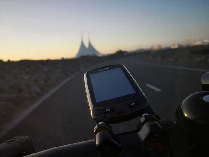 The road ahead Road Bike Bike Cycling Cardiff Bay Wales Cardiff Bay Cardiff Bay Barrage Wales Cymru Garmin Garmin Edge 810 Wireless Technology Photography Themes Sunset Device Screen Photo Messaging Road Trip Point Of View Adventure Speedometer
