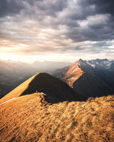 Hiking Light Alps Beauty In Nature Cloud - Sky Day Environment Idyllic Land Landscape Mountain Mountain Peak Mountain Range Nature No People Non-urban Scene Outdoors Remote Ridge Scenics - Nature Sky Sunlight Sunset Tranquil Scene Tranquility