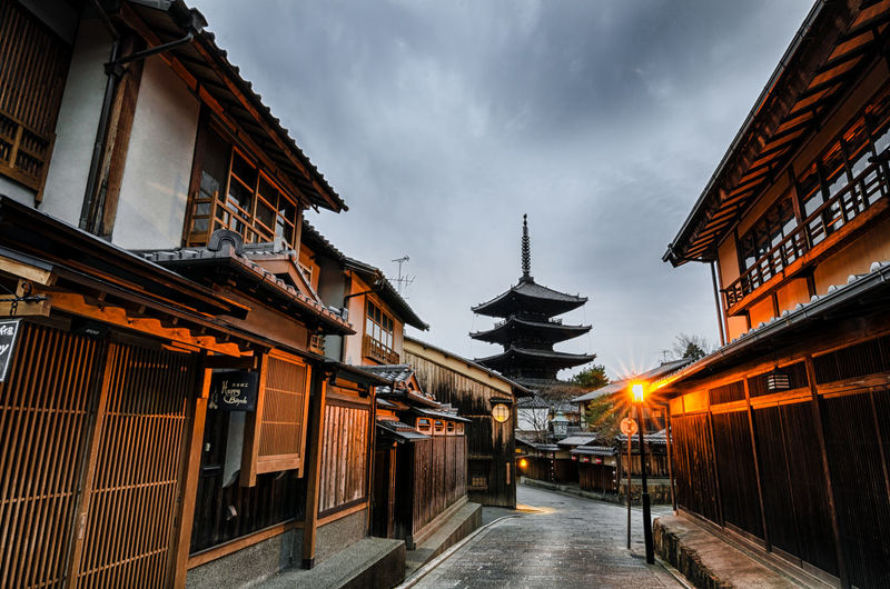 Yasaka Pagoda at dawn photographed in Kyoto, Japan by Shawn Tang Ancient Palace Architecture Building Building Exterior City Cloud Cloud - Sky Cloudy Dawn Day Diminishing Perspective Empty Exterior Japan Kyoto Narrow No People Outdoors Pagoda Residential Structure Sky The Way Forward Town Ultimate Japan Walkway
