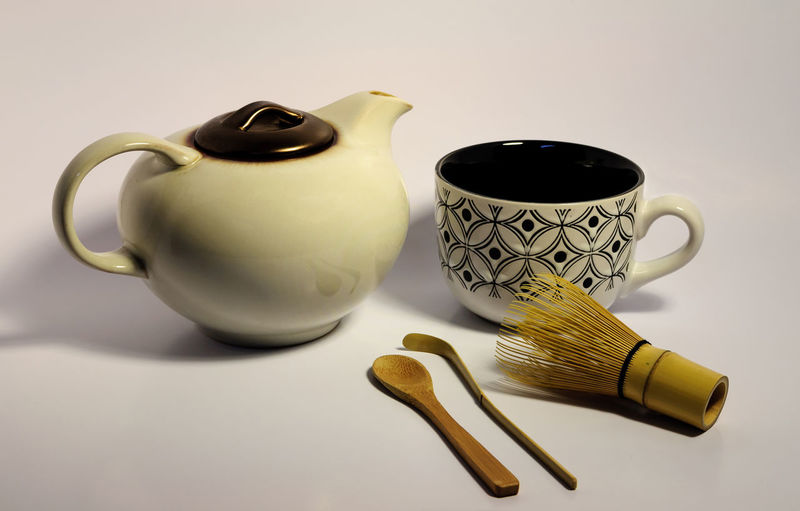 Match Tea Kettle, Cup, Whisk, Spoon and Scoop Bamboo Close-up Coffee Cup Cup Drink Green Health Kettle Matcha Pitcher Pot Scoop Spoon Still Life Table Tea Tea Cup Tea Time Wisk