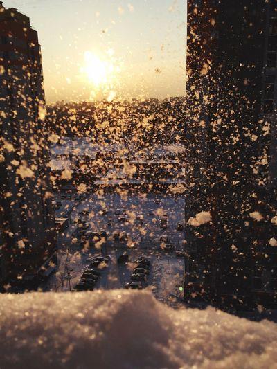 Winter Sunset No People Window Nature Water Wet Outdoors Sky
