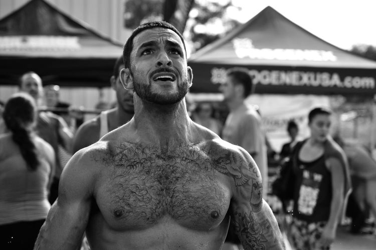 Close-up of shirtless man with muscular build