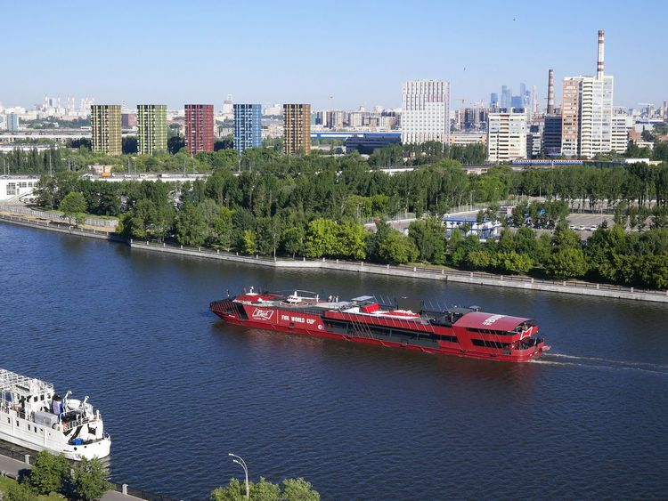 Bud boat in Moscow river. FIFA World Cup 2018. FIFA World Cup Of 2018 Helicopter Morning Light Pleasure Boat Trees WeekOnEyeEm Architecture Bud Beer Building Exterior Built Structure City Cityscape Day Embankment High Angle View Mode Of Transportation Nature Nautical Vessel Outdoors Passenger Craft Plant River Skyscraper Transportation Water