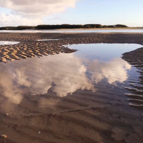 Reflections and patterns in the sand Scenics Clear Sky Beauty In Nature Water Landscape Outdoors Beauty In Nature Pink Color Nature Tranquility Freshness Close-up